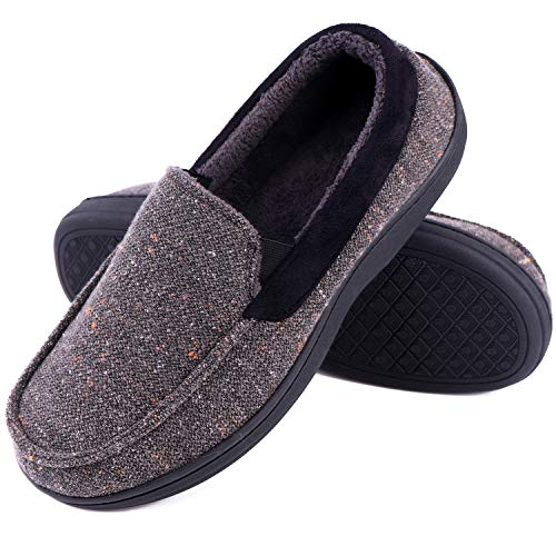 (LongBay Men's Memory Foam Moccasin Slippers Plush Fleece House Shoes in Indoor/Outdoor Loafer Style (10 D(M) US, Gray))