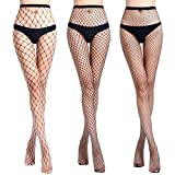AROOMVE 3 Pair Women's Hollow Out Pantyhose Fishnet Sheer Stockings Hight Tights