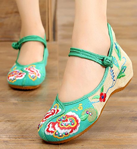 Style Les Femelle À KHSKX Chaussures Chaussures Pivoines De Chaussures green Fleur Folklorique Femmes Chinois Brodé Tissu Chaussures Augmentait De pqwdqxaI4