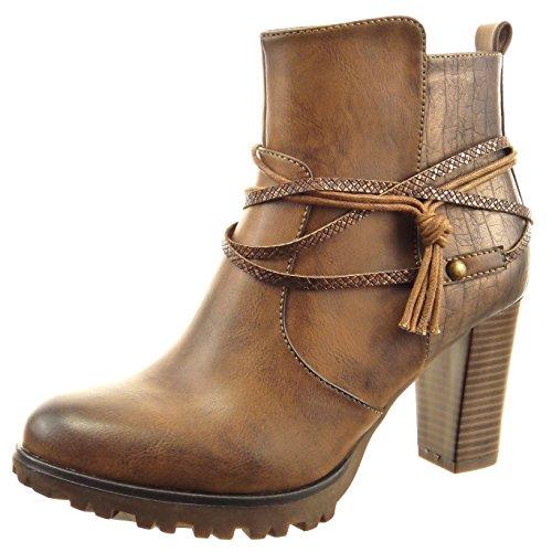 Sopily - Zapatillas de Moda Botines low boots A medio muslo mujer piel de serpiente multi-correa cuerda Talón Tacón ancho alto 8 CM - Marrón
