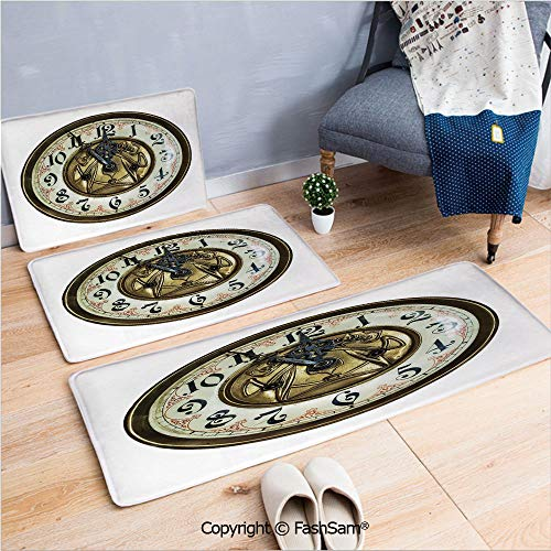 3 Piece Non Slip Flannel Door Mat Antique Theme a Vintage Clock with a Face on It Stylish Decorative Pattern Indoor Carpet for Bath Kitchen(W15.7xL23.6 by W19.6xL31.5 by W15.7xL39.4)