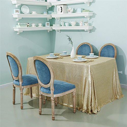 - Zdada 1PCS Sequin Tablecloth 60x126inch, High Density Shiny Sequin, Matt Gold