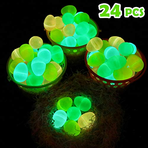 Moyeenee-24 Pcs Glow in the Dark Easter Eggs-To Filling Specific Treats, Easter Glow Theme Party Favor, Easter Eggs Hunt, Basket Stuffers Filler, Classroom Prize, Party Favor -