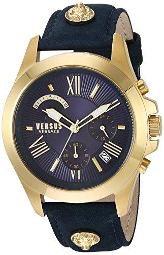 Versus by Versace Men's Chrono Lion Extension Quartz Watch with Leather Calfskin Strap, Blue, 125 (Model: VSPBH1118) ()