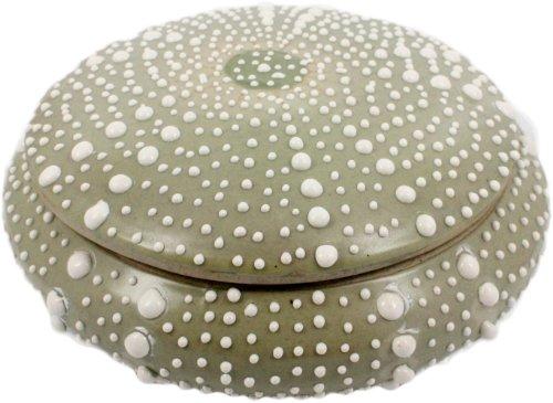 (HomArt Porcelain Dark Green Sea Urchin Round Box,)