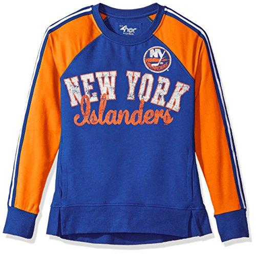 NHL New York Islanders Women's Perfect Pitch Pullover Crewneck Jacket, Medium, Royal/Orange - Ny Islanders Jacket