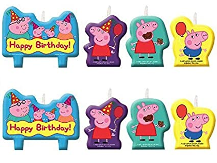 by Amscan Multicolor Amscan Peppa Pig Birthday Party Molded Candle Cake Set Decoration
