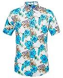 #4: SIR7 Men's Hawaiian Flower Print Casual Button Down Short Sleeve Shirt
