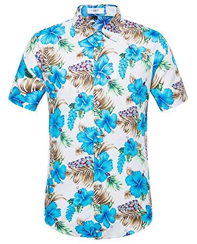 SIR7 Men's Hawaiian Flower Ptint Casual Button Down Short Sleeve Shirt Blue S