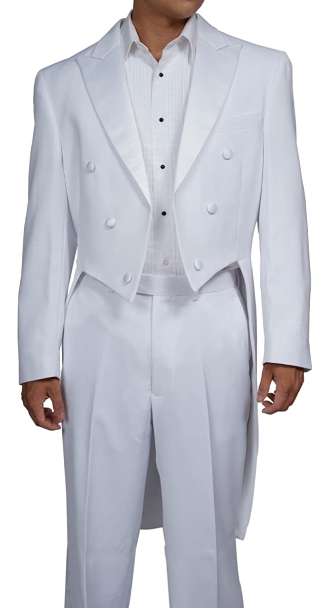 New Era Factory Outlet Men's White Tuxedo Tails Includes Tailcoat and Tuxedo Pants white tux tail