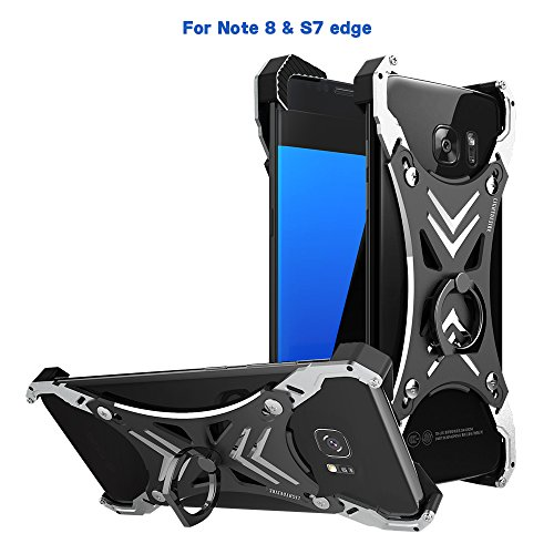 Galaxy Note 8 Case Universal, LIGHTDESIRE Slim Shockproof Corners Raised Bumper Frame with Ring Kickstand Aluminum Adjustable Size for Galaxy Note 8/S7 Edge-Metallic Black