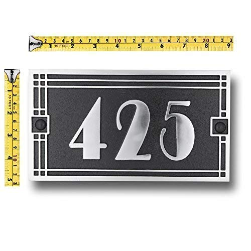 House Number Address Plaque Art Deco Line Style. Cast Metal Personalised Yard Or Mailbox Sign with Oodles of Number and Letter Options. Handmade in England by The Metal Foundry Just for You