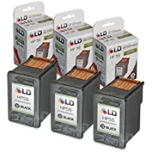 LD Remanufactured Replacement Ink Cartridges for Hewlett Packard C6656AN (HP 56) Black (3 pack)