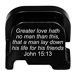Molon Labe Laser Engraved Rear Cover Plate for Ruger LC9s Pistol - John 15:13