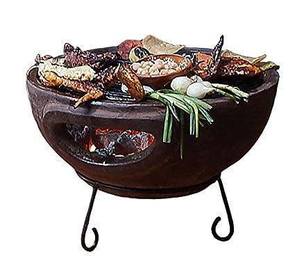 Ronda exterior barbacoa portátil de carbón piedra arcilla cuadro top Fire Pit – Patio jardín