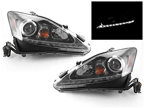 DEPO True OE Style JDM Black Housing LED Strip Projector Upgrade Headlight for 2006-2013 Lexus IS250 / IS350 - Jdm Style Black Headlights