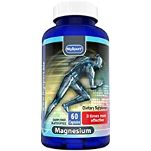 High Absorption Magnesium for Leg Cramps and Sore Muscles, Eases Restless Leg Syndrome (RLS), With Vitamin B6, D and E, 380mg Magnesium Oxide Monohydrate, 60 Servings, Gluten Free