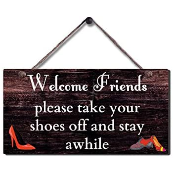 photo regarding Please Take Off Your Shoes Sign Printable called Rustic Wooden Indicator Wall Putting Plaque Traditional Get Off Shoe Wall Indication Measurement 11.5\