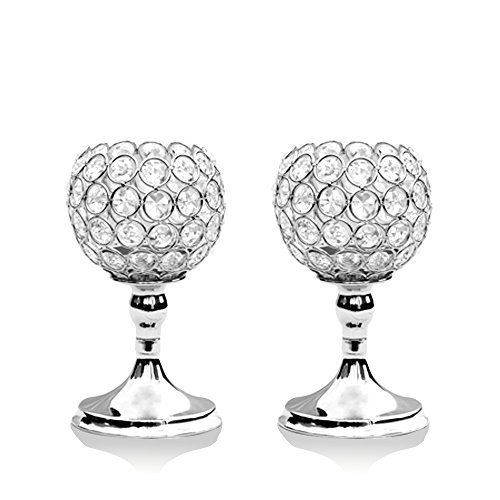 Carved Round Beads (VINCIGANT Silver Crystal Bowl Candle Holder Sets for Dining Room Decorative Centerpieces,House Decor Gifts,8 Inches Tall)