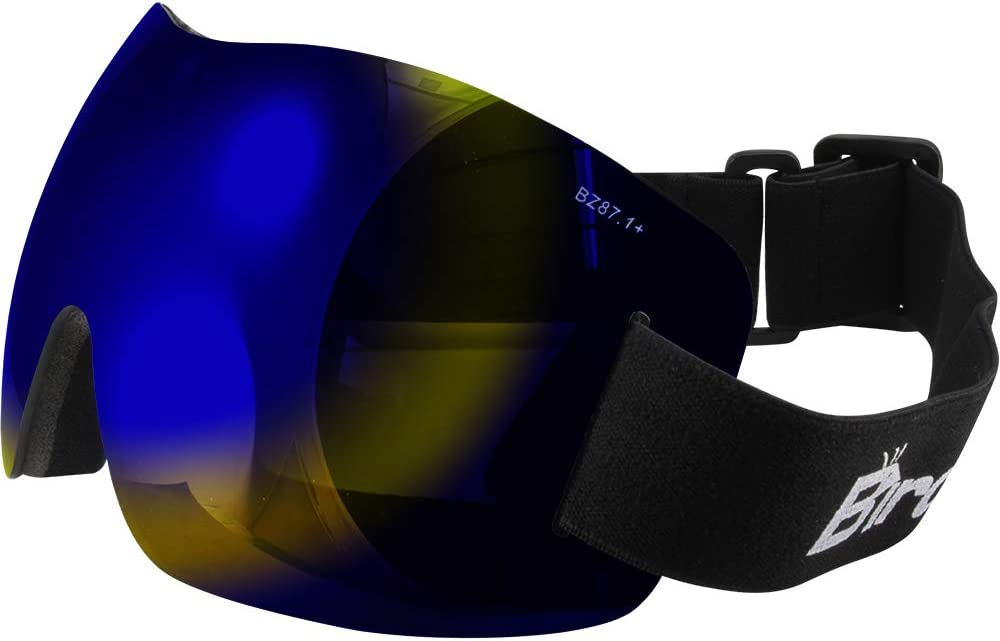 2 Pairs of Birdz Eyewear Starling Frameless Skydiving Motorcycle Goggles with Blue Mirror ReflecTech /& Yellow Lenses