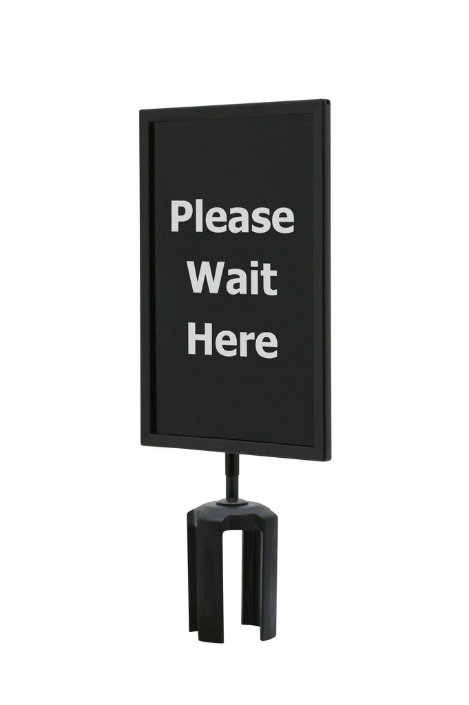QueueWay Sign ''Please Wait Here'' Double Sided, 7'' x 11'' Size