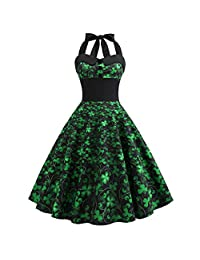 UOKNICE Womens Dresses,Independence Day American Flag Print Evening Party Prom Swing Button Halter Hepburn Dress