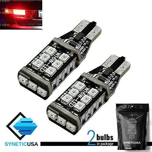 (2X T10 921 912 Red LED 3RD Brake High Mount Stop Light Bulbs 60W High Power 3535 Chip)
