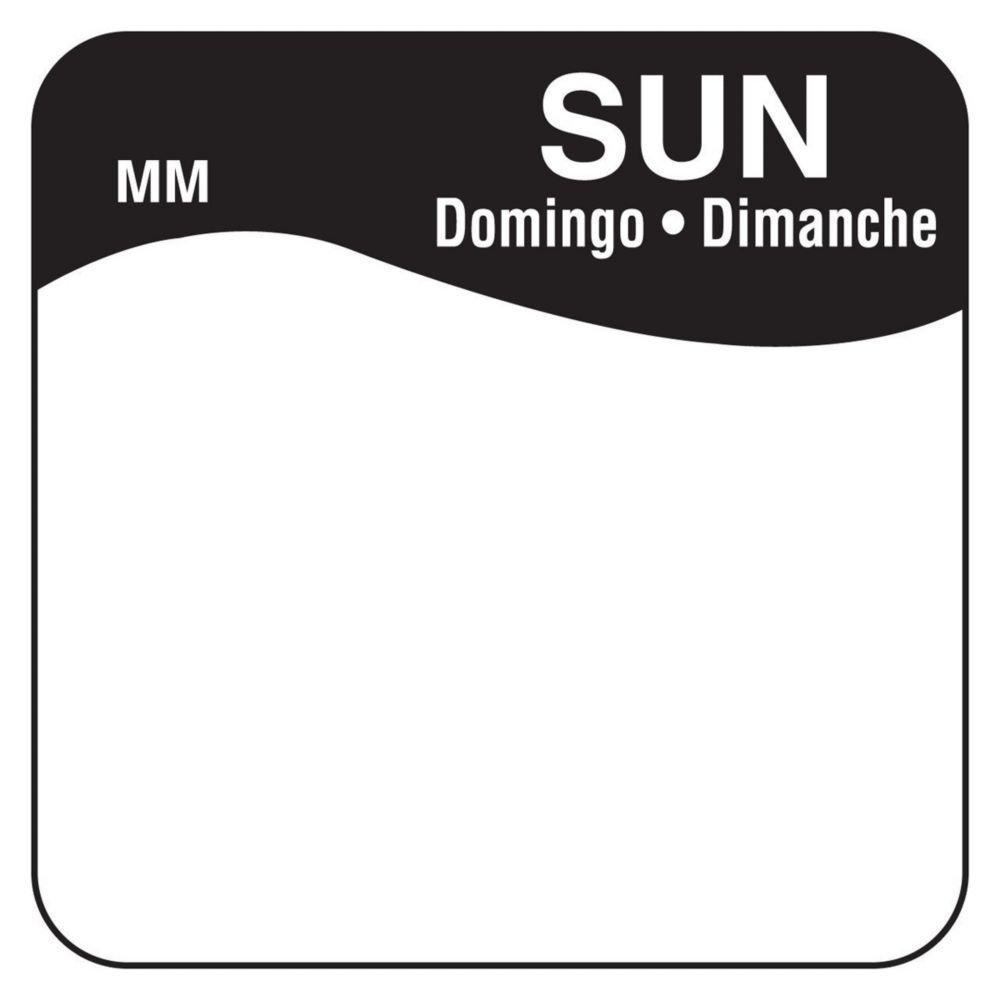 DayMark 1100347 MoveMark Trilingual 1'' Sunday Day Square - 1000 / RL
