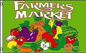 Los agricultores mercado con productos tradicionales Bandera