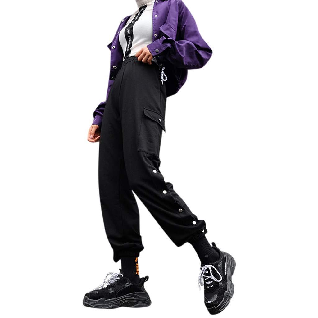 Honestyivan Women Fashion Punk Embroidery Hi-Waist Overalls Casual Loose Stretch Button Slit Beam Foot Harem Pants Sweatpants Black