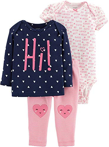 Carter's Baby Girls' 3-Piece Little Character Sets (Pink/Navy/Hearts, -