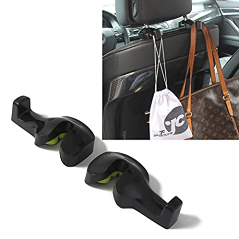 JCSPORTLINE Universal Car Vehicle Back Seat Headrest Hanger Holder Hooks (Black -Set of 2) - Universal Hanger