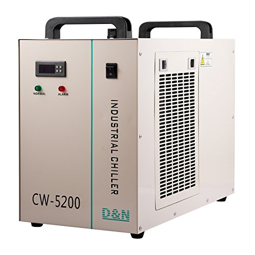 Happybuy Water Chiller CW-5200DG 6L Capacity Thermolysis Industrial Water Chiller 1400W Cooling Industrial Chiller for 130/150W CO2 Glass Tube Energy Saving (6L CW-5200)