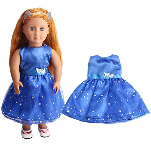can Girl Dolls Clothing, Sleeveless Party Prom Gown Dress Clothing for American Girl Our Generation Dolls ()