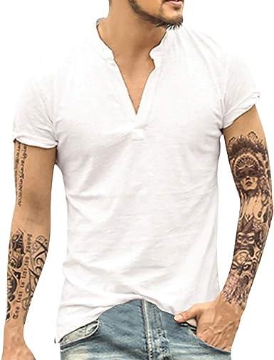 VRTUR Camisa De Hombre CláSico Casual De Verano Hombres Vintage Baggy AlgodóN Lino SóLido Manga Corta Camisetas Retro Tops Blusa, 2019 Nuevo: Amazon.es: Ropa y accesorios