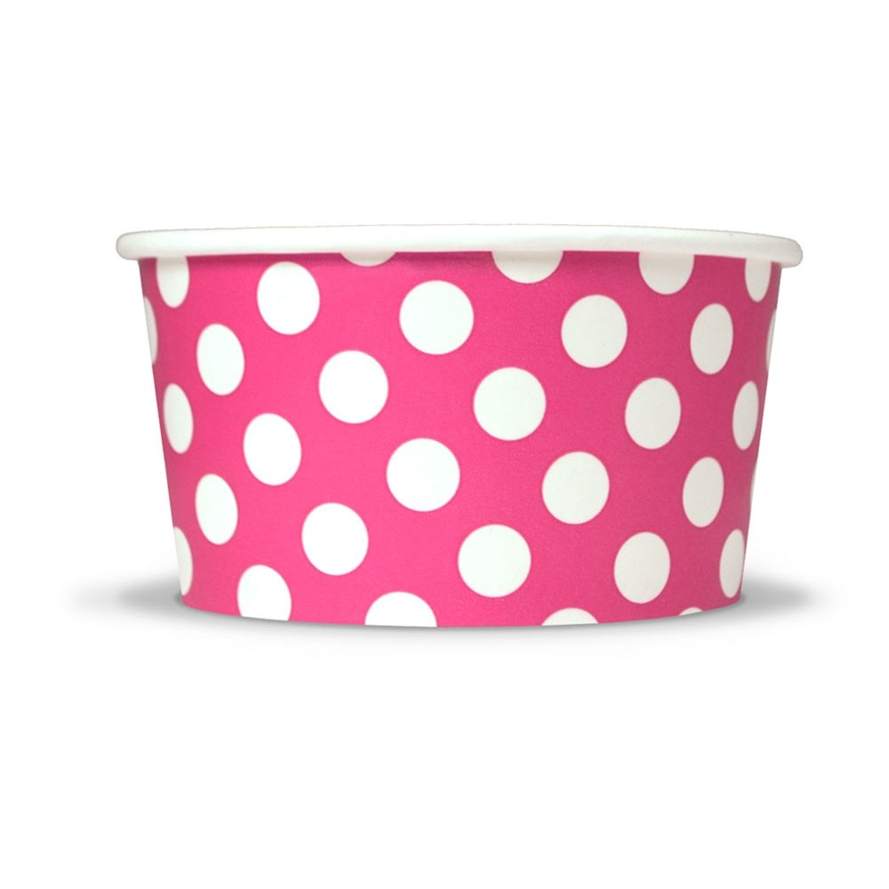 Pink Paper Ice Cream Cups - 6 oz Polka Dotty Dessert Bowls - Comes In Many Colors & Sizes! Frozen Dessert Supplies - Fast Shipping! 1000 Count