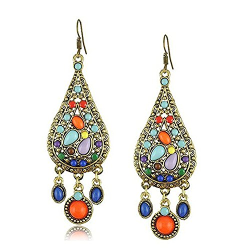 Himeiping Ethnic Retro Bohemian Droplets Color Dress Mexico Gypsy Dangle Earrings
