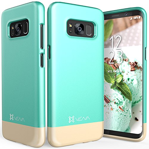 Vena iSlide [Two-Tone] Dock-Friendly Slim Fit Hard Case Cover for Samsung Galaxy S8 - Teal/Champagne Gold