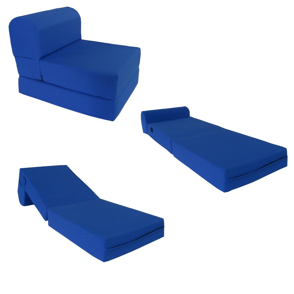 Royal Blue Sleeper Chair Folding Foam Bed Sized 6'' Thick X 32'' Wide X 70'' Long, Studio Guest Foldable Chair Beds, Foam Sofa, Couch, High Density Foam 1.8 Pounds. by D&D Futon Furniture