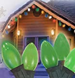 Set Of 25 Opaque Green C7 Christmas Lights - Green Wire