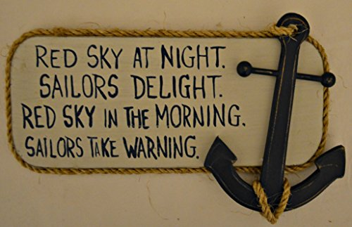 Rustic-Country-Wood-Plaque-Sign-Decoration-with-Hanging-Option-12-12-x-7-12-x-1-Inches-Wooden-Sign-Saying-Red-Sky-At-Night-Sailors-Delight-Red-Sky-In-The-Morning-Sailors-Take-Warning-with-Decoration-B