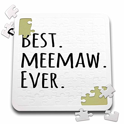 3dRose InspirationzStore Typography - Best Meemaw Ever - Gifts for Grandmothers - Grandma Nicknames Memaw - Black Text 10x10 Inch Puzzle (pzl_151510_2)