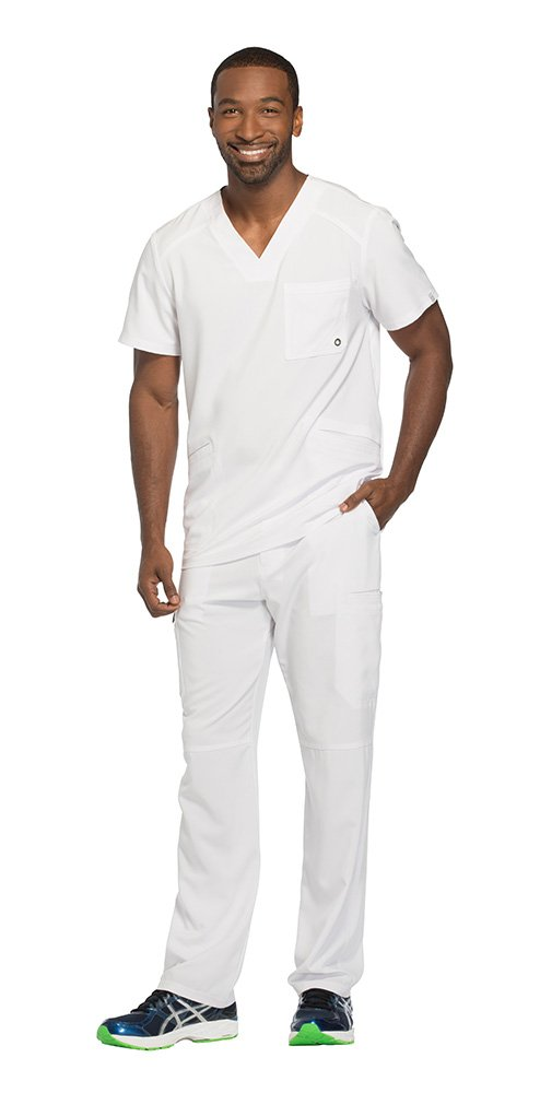 Cherokee Infinity Men's V-Neck Top with Certainty CK900A & Drawstring Cargo Pant CK200A Scrub Set (Antimicrobial) (White - XXXXX-Large/XXXXX-Large)