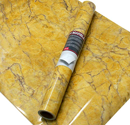 VViViD Gloss Imperial Golden Marble Natural Texture Architectural Vinyl Film 15.8 Inches x 6.5 Feet Roll