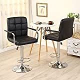 New 2pc Black PU Leather Adjustable Height Swivel Bar Stool with Arms & Chrome Base 360° Swive