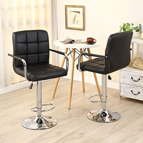 New 2pc Black PU Leather Adjustable Height Swivel Bar Stool with Arms & Chrome Base 360° Swive (Wicker Bar Stools For Less)