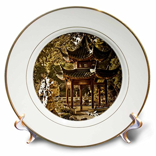 3dRose cp_12676_1 Chinese Pagoda Garden Porcelain Plate, 8-Inch - Pagoda Curio
