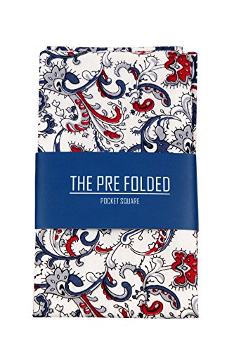 Pre-Folded Fashion Pocket Square Hanky for Men - Solid Dot Paisley Plaid Folded Hankies by The Perfect Necktie