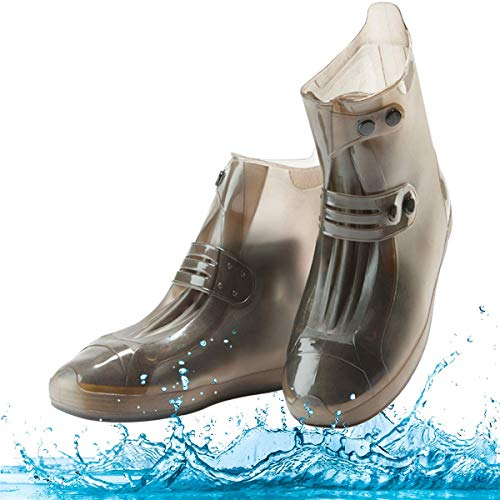 Waterproof Shoe Covers, Portable Rain Boots with Adjustable Belt Buttons Anti-Slip/Reusable (Rain Boots Motorcycle)