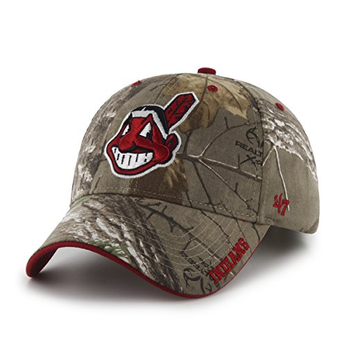 Cleveland Team Design Indians ('47 MLB Cleveland Indians Frost MVP Adjustable Hat, One Size, Realtree Camouflage)